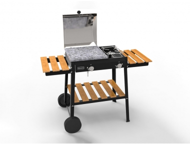 Combinato Ferraboli LPG Gas Barbecue in Painted Steel With Cast Iron Griddle Cooker and Pot Holder