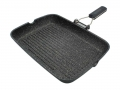 Large Grill Griddle Steak Rock Line with Folding Handle Made in Italy