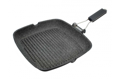 Square Griddle Grill Rock Line with Ergonomic Handle for Healthy Kitchen Made in Italy