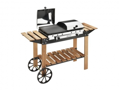 Legno Inox Ferraboli Gas Wooden Barbecue For Garden and Home, with Wheels and Shelves for Leaning Kitchen Tools