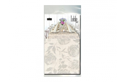 Table Set Tablecloth and 10 Napkins Florence Greige Biodegradable for Important Events by Pack Service Italia