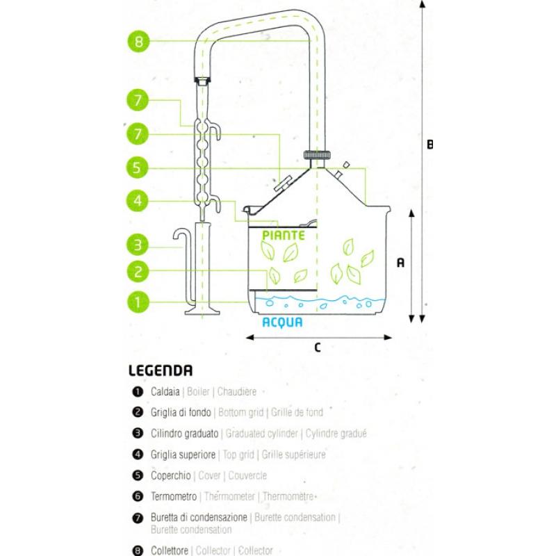 Stainless Steel Essential Oil Extractor 12 Liter Herbal Steam Distillation