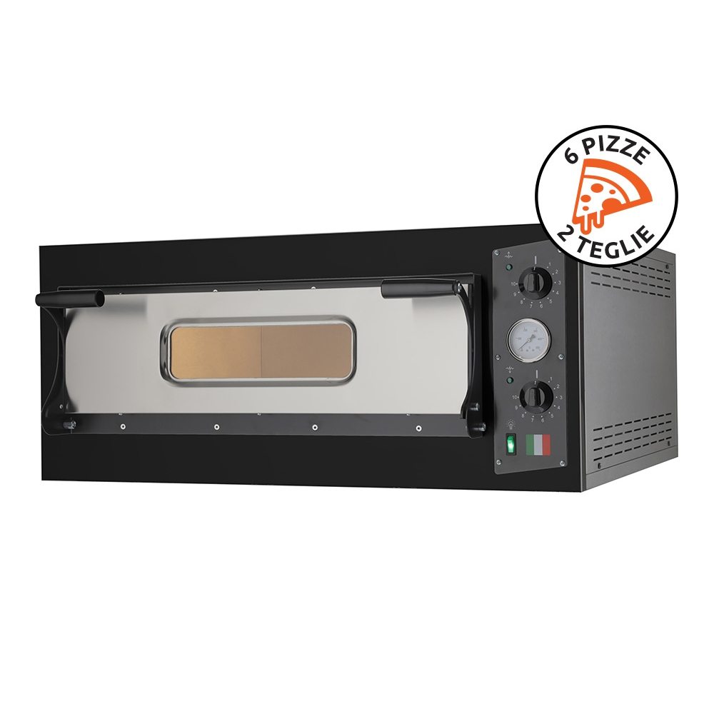 """Electric Oven for Cooking Traditional """"Pizza in Teglia"""" Eco 6 Black 230V-400V Made in Italy"""