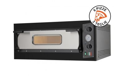 "Electric Oven for Cooking Traditional ""Pizza in Teglia"" Eco 6 Black 230V-400V Made in Italy"