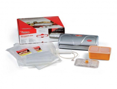 Kit 9348 NF Salvaspesa Plus Vacuum Pack Silver 32cm Reber Complete With Bags and Containers to Store Food