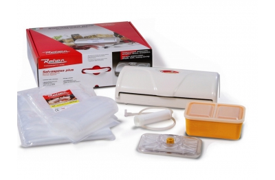 Kit 9346 NF Salvaspesa Plus White Vacuum Sealer 32cm Reber Gift Box with Included Bags and Container