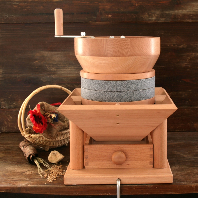 Carina Grain Mill for Small Beans with Natural Stone in Granite Salzburg Mills