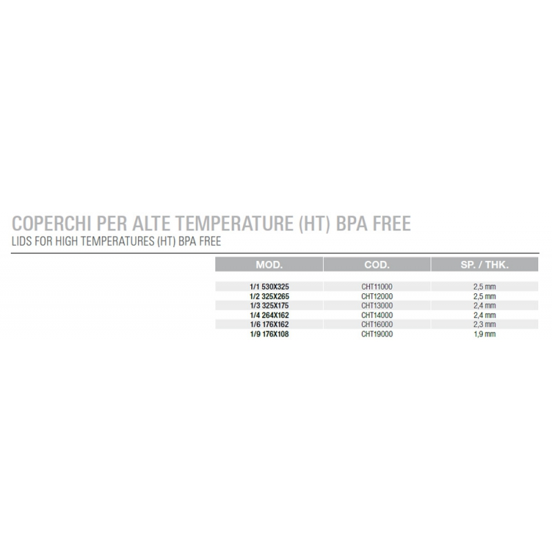 Lids for Gastronorm Containers High Temperature in Polyamide BPA FREE