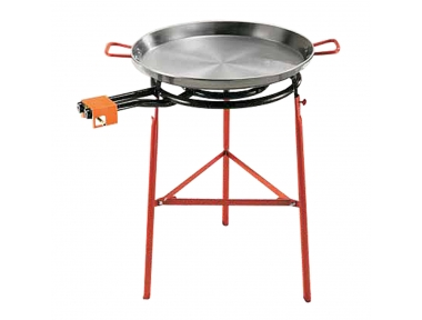 Paella Complete Set Iron Spanish Pan Ø 60 cm with Gas Ring and Stand Made in Spain by Garcima