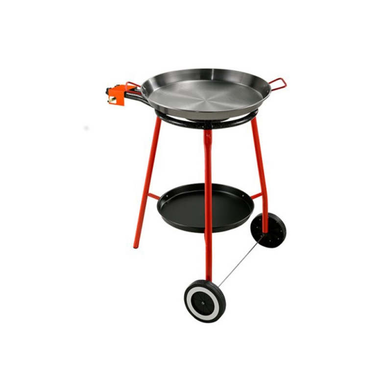 Paella Full Kit Iron Spanish Pan Ø 42 cm with Gas Ring and Stand Made in Spain by Garcima