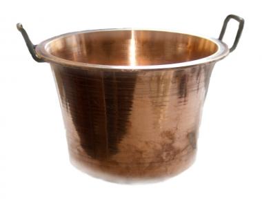 Italian Traditional Copper Cauldron Pot to Make the Typical Italian Polenta
