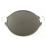 Round Plate by Garcima Vetrified Iron Ø 42 cm Striped Side and Smooth Side with Two Handles