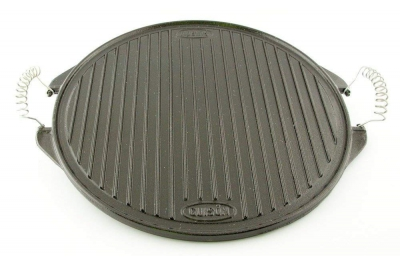 Round Plate by Garcima Cast Iron Ø 42 cm Striped Side and Smooth Side with Two Handles