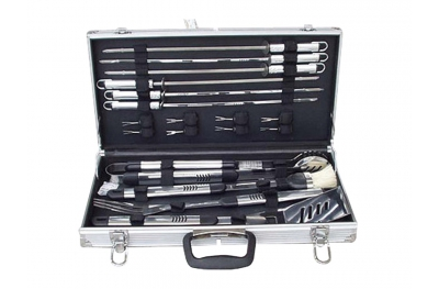 Metallic Handbag Set of 18 Steel Accessories Ferraboli Gift Idea for Grill and Barbecue Lovers