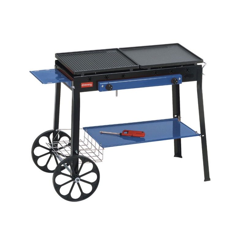 Combinato Ferraboli LPG Gas Barbecue in Painted Steel With Cast Iron Griddle, Cooker and Pot Holder