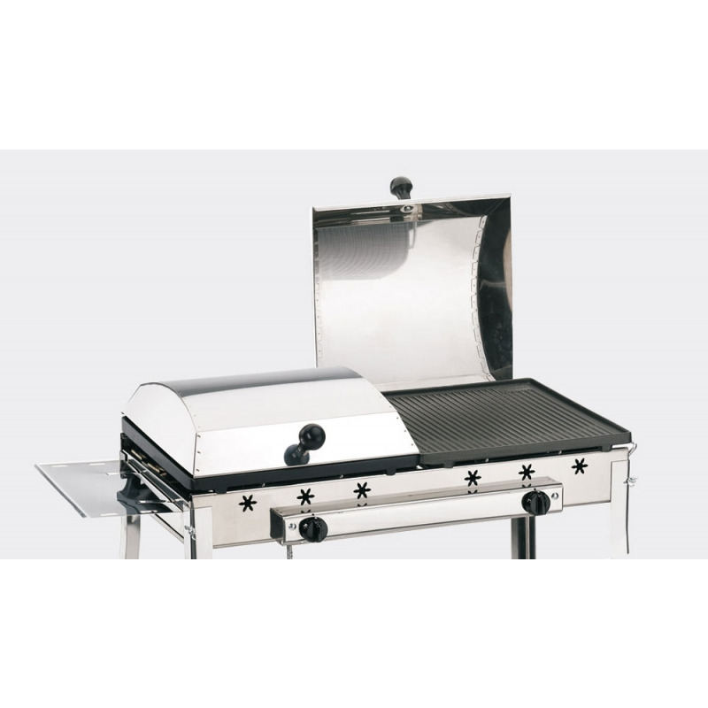 Stereo Ferraboli LPG Gas Barbecue on Wheels With Supports for Tools and Inclinable Griddles for Greater Cleaning During Cooking Phase