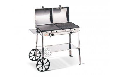 Stereo Inox Ferraboli GPL Gas Barbecue with Wheels 2 Griddles and 2 Independent Lids Comfortable Supports and Shelves Made in Italy
