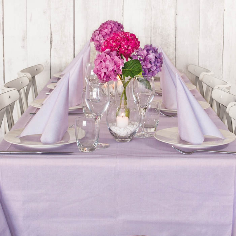 Tablecloth and 10 Napkins Softy Lilac Kit 100% Biodegradable by Pack Service Italia