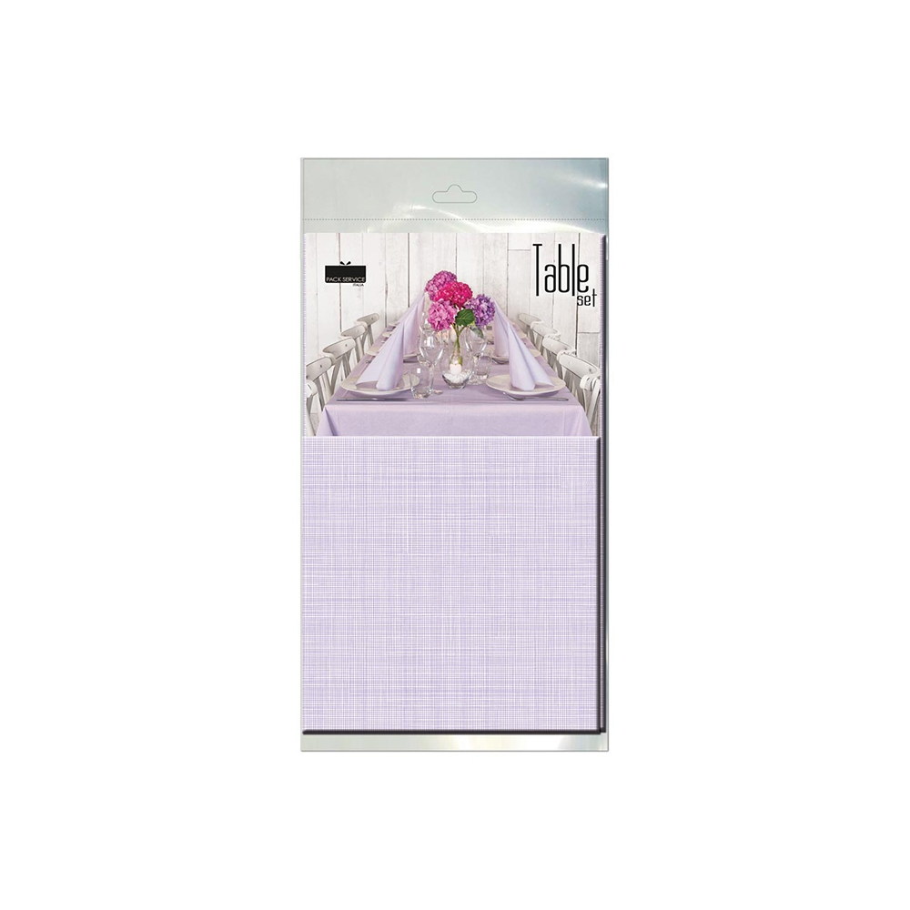 Tablecloth and 10 Napkins Softy Lilac Kit 100% Biodegradable Cellulose Ready Table by Pack Service Italia