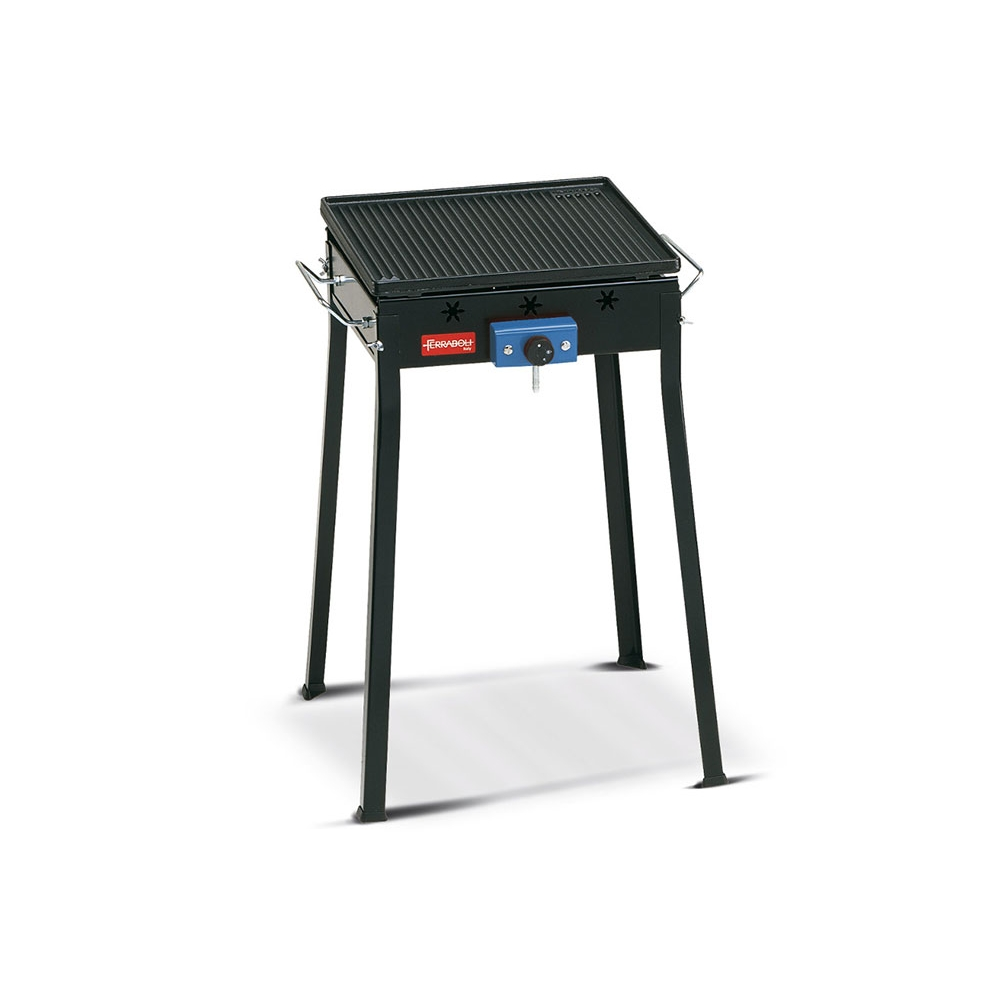 Urano Ferraboli Gas Barbecue Stainless Steel 2 Burners and Plate with Shelves