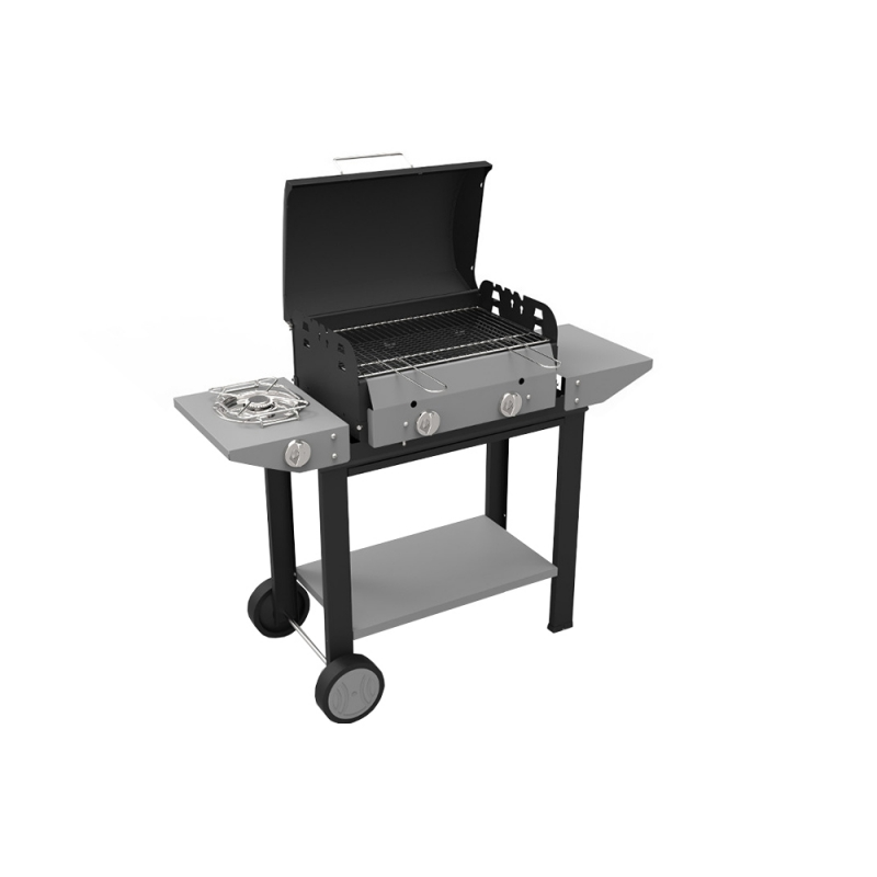 Mono Inox Ferraboli LPG Gas Barbecue with Lid for Better Homogeneous and Fast Cooking of Meat and Vegetables